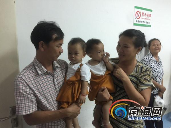 海南首例连体婴儿手术分离一周年 复查身体正常