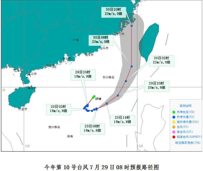 热带低压已加强成为今年第10号台风 对琼岛陆地无直接影响