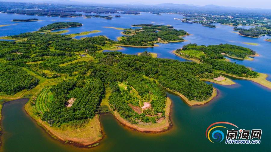 航拍海南南丽湖国家湿地公园 绿意盎然美景如画