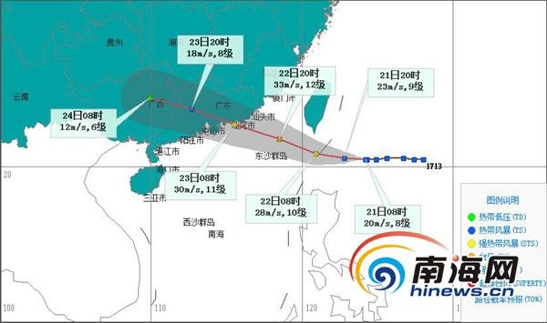 """""""天鸽""""将于22日进入南海东北部 对海南岛陆地和近海无直接影响"""