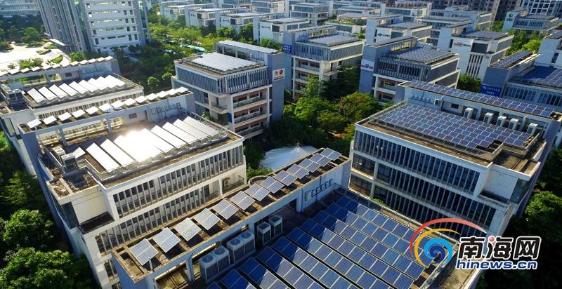 航拍:澄迈老城开发区光伏屋顶电站整齐排列