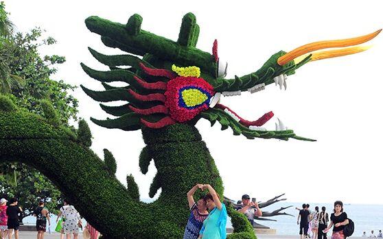 """组图:15米长""""巨龙""""亮相三亚大东海 用植物制成"""