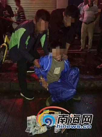 海口男子持刀晚间抢劫酒店前台 作案得手7分钟后被擒获