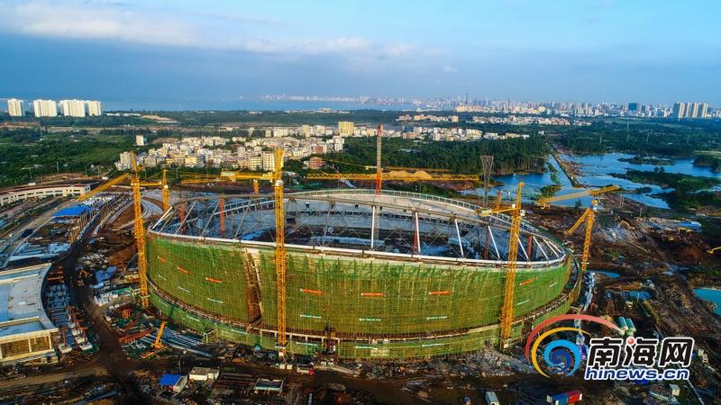 航拍| 海口五源河体育场初展雄姿 计划明年完工