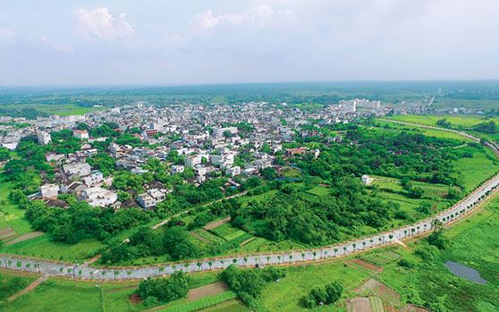 俯瞰中和镇:环城路将古镇环抱