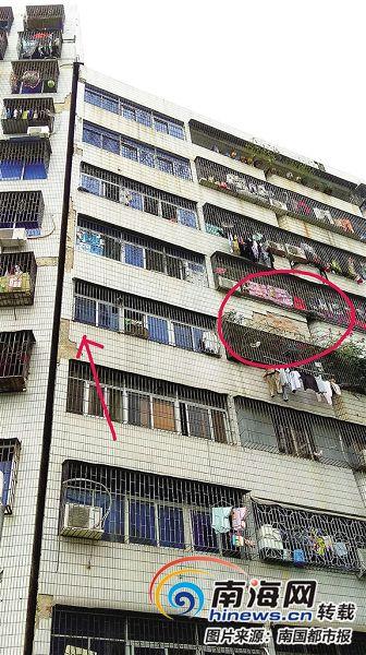 太危险!大厦外墙瓷砖掉落 海口江南商业大厦物业回应