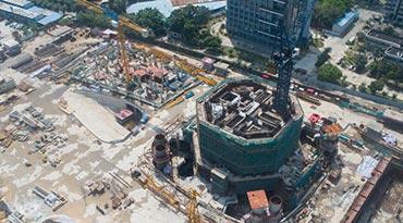 独家 |航拍海口双子塔·南塔 年内将施工至地上40层