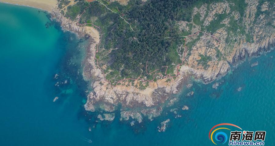 航拍棋子湾海防林:昌江的绿色屏障