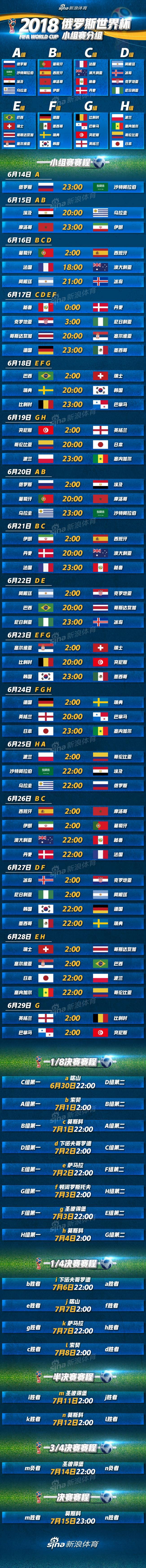 2018俄罗斯世界杯完整赛程