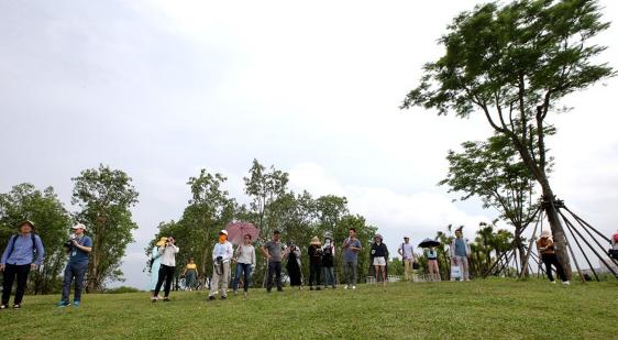 网媒记者参观凤翔湿地公园 点赞海口生态修复成果