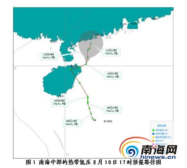 热带低压10日下午已从文昌出海10日夜间~11日海南仍有风雨
