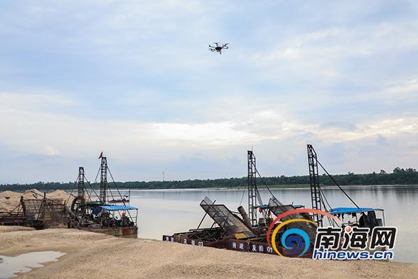 无人机巡查河道海口秀英区多措施打击非法采砂