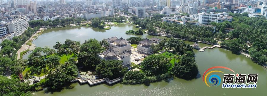 瞰海南| 航拍海口东湖湖心岛 楼宇修缮明年春节前完工