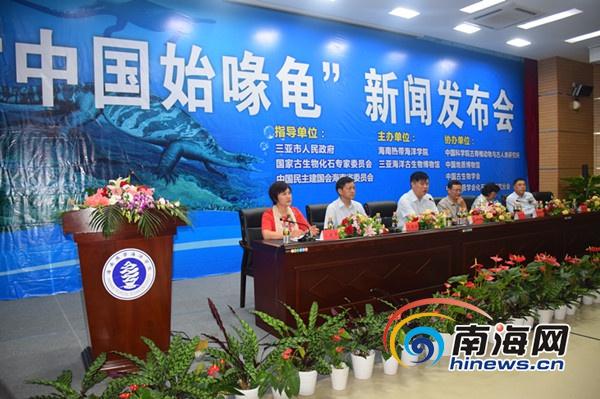 """约2.28亿年前的""""中国始喙龟""""在三亚首次亮相"""