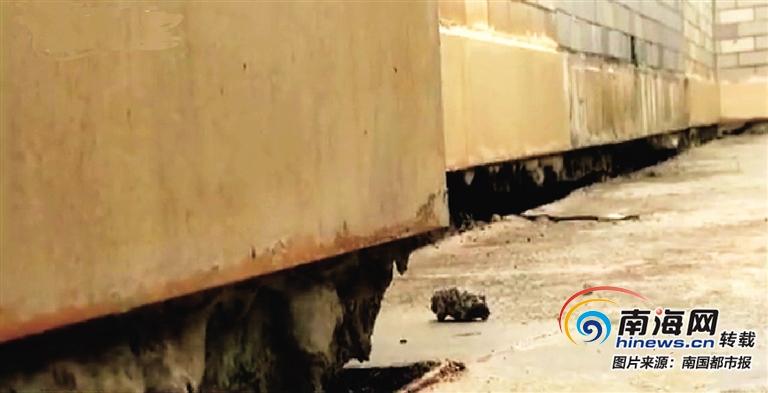 文昌文西诒喜花园小区二期施工 一期4栋住宅楼地基开裂