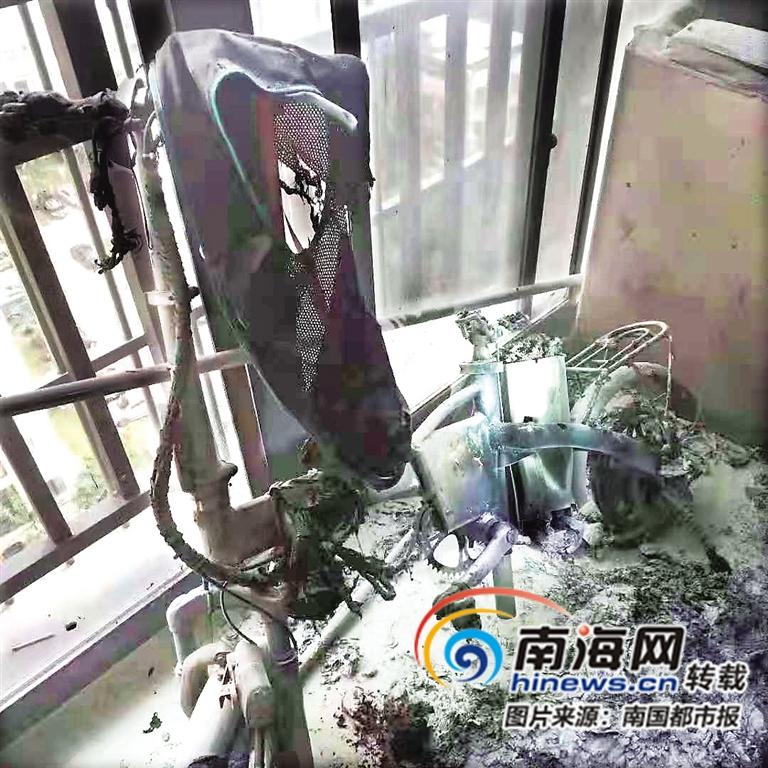 又见电动车充电酿祸海口凤翔花园13楼一住户起火